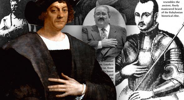 imagen de Cristobal Colon, Stalin y San Ignacio de Loyola con la mano en el corazón
