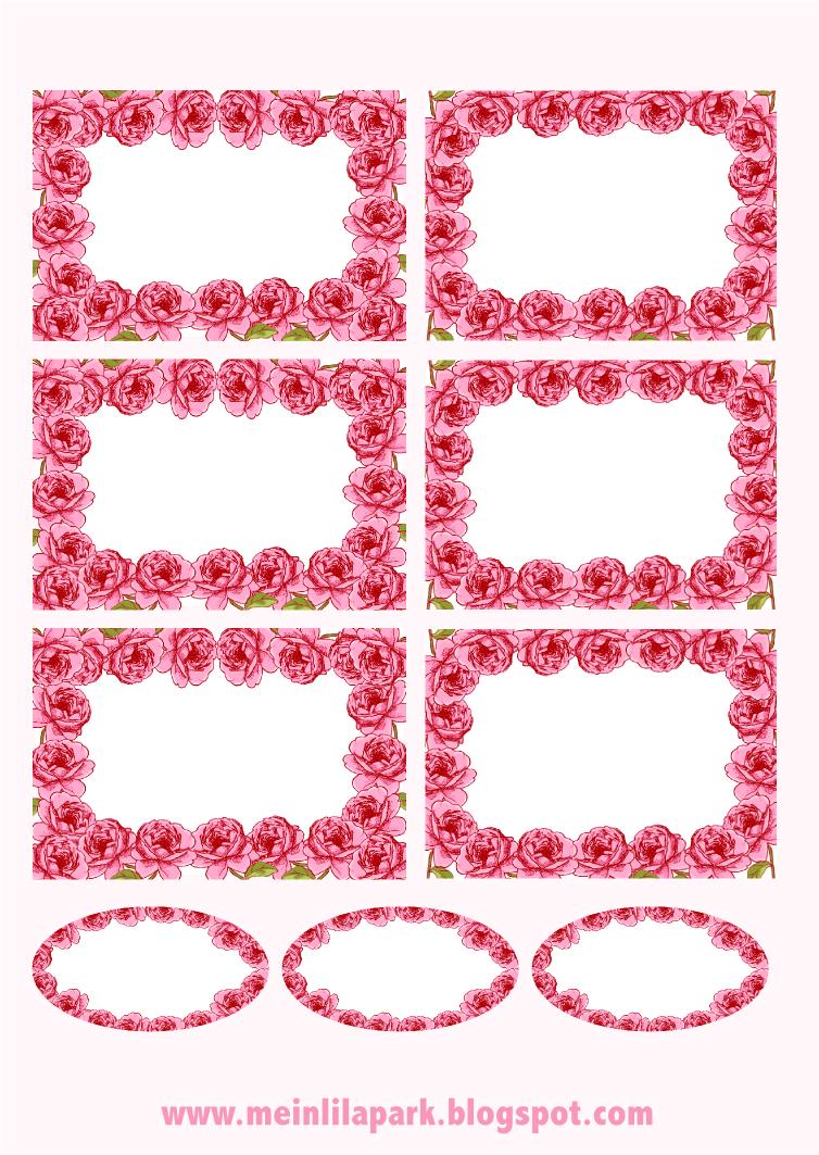 free printable rose framed tags  ausdruckbare Etiketten