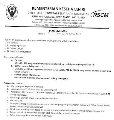 Lowongan Kerja Non PNS RSUPN Dr.Cipto Mangunkusumo Tahun 2017