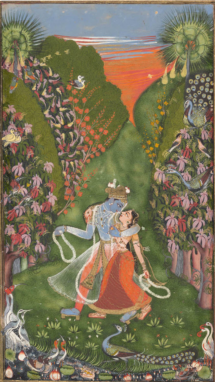Krishna and Radha gaze into each other's eyes during a sunset walk - Rajput Painting, Kota, c1720