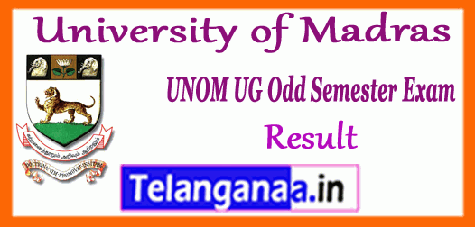UNOM University of Madras UG CBCS 1st 3rd 5th Semester Exam Result