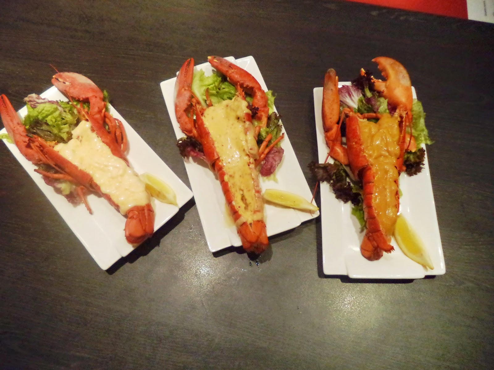 Canadian Lobster with Spicy flaming sauce, Ebiko Flaming Sauce, Honey BBQ sauce