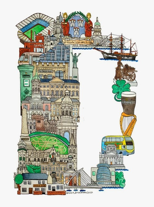 04-D-Dublin-Ireland-Hugo-Yoshikawa-Illustrated-Architectural-Alphabet-City-Typography-www-designstack-co