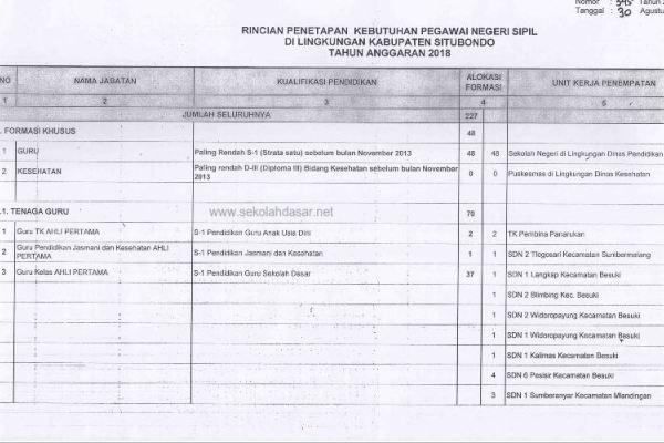 Pengumuman Tes CPNS 2018 Kabupaten Situbondo