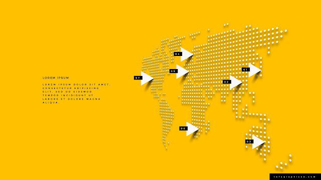 Perspective World Map Infographics for PowerPoint Template Type B