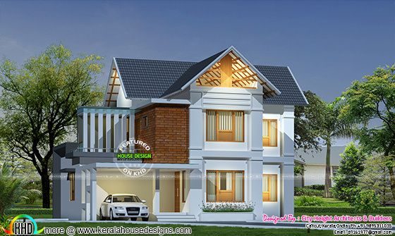 1650 square feet sloped roof home plan