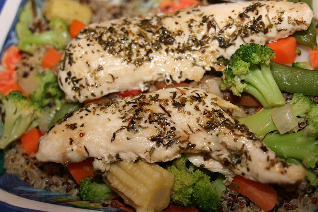 Provence Chicken with Veggies & Red Quinoa  from Simple Living and Eating