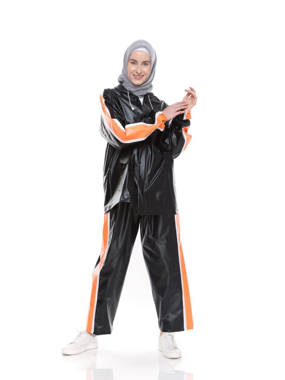 Jas Hujan Mantel Raincoat Setelan Trendy - Hitam Strip Orange