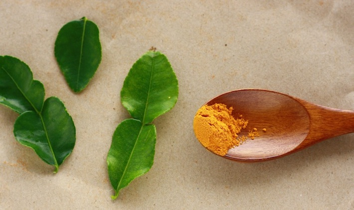 kaffir lime leaves with turmeric spice