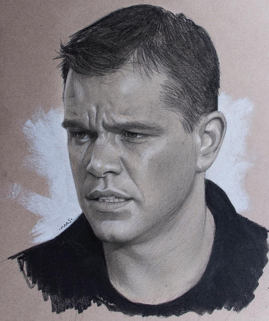 13-Matt-Damon-Justin-Maas-Pastel-Charcoal-and-Graphite-Celebrity-Portraits-www-designstack-co