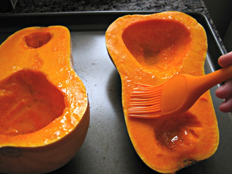 roasting butternut squash brush with oil