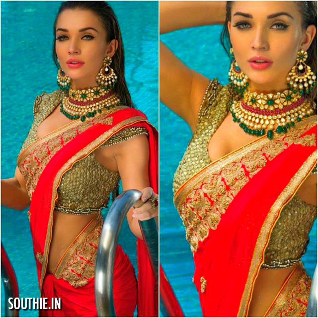 Amy Jackson looks stunning, sexy and as usual very hot in this red saree. Hot Ladies in Shades of Red