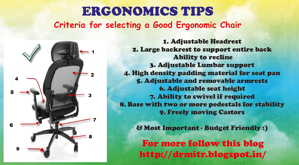 ergonomic chair criteria low back chairs dining drmitrphysio 10 steps for selecting a good if you follow the above while will never have any issues with your health spread word as its not just our