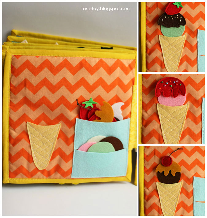 Quiet book for Madison - children's activity fabric busy book, ice-cream page, развивающая книжка, мороженое