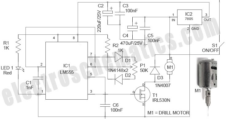 electronic solution  pcb dril speed controller with ic 555