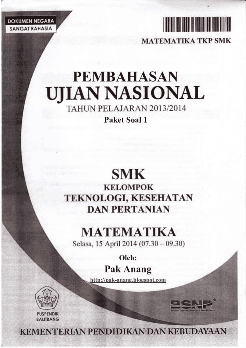 Download Pdf Jawaban Soal Un Matematika Smk Tkp 2014 Trik Superkilat Paket 1 7 Latihan Un Sd Smp Sma