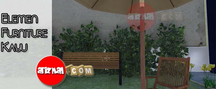 Elemen Furniture Kayu di Taman Rumah
