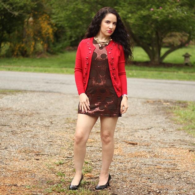 Brown Sequin Mini Dress
