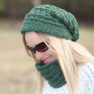 Loom knit lace hat and cowl set pattern