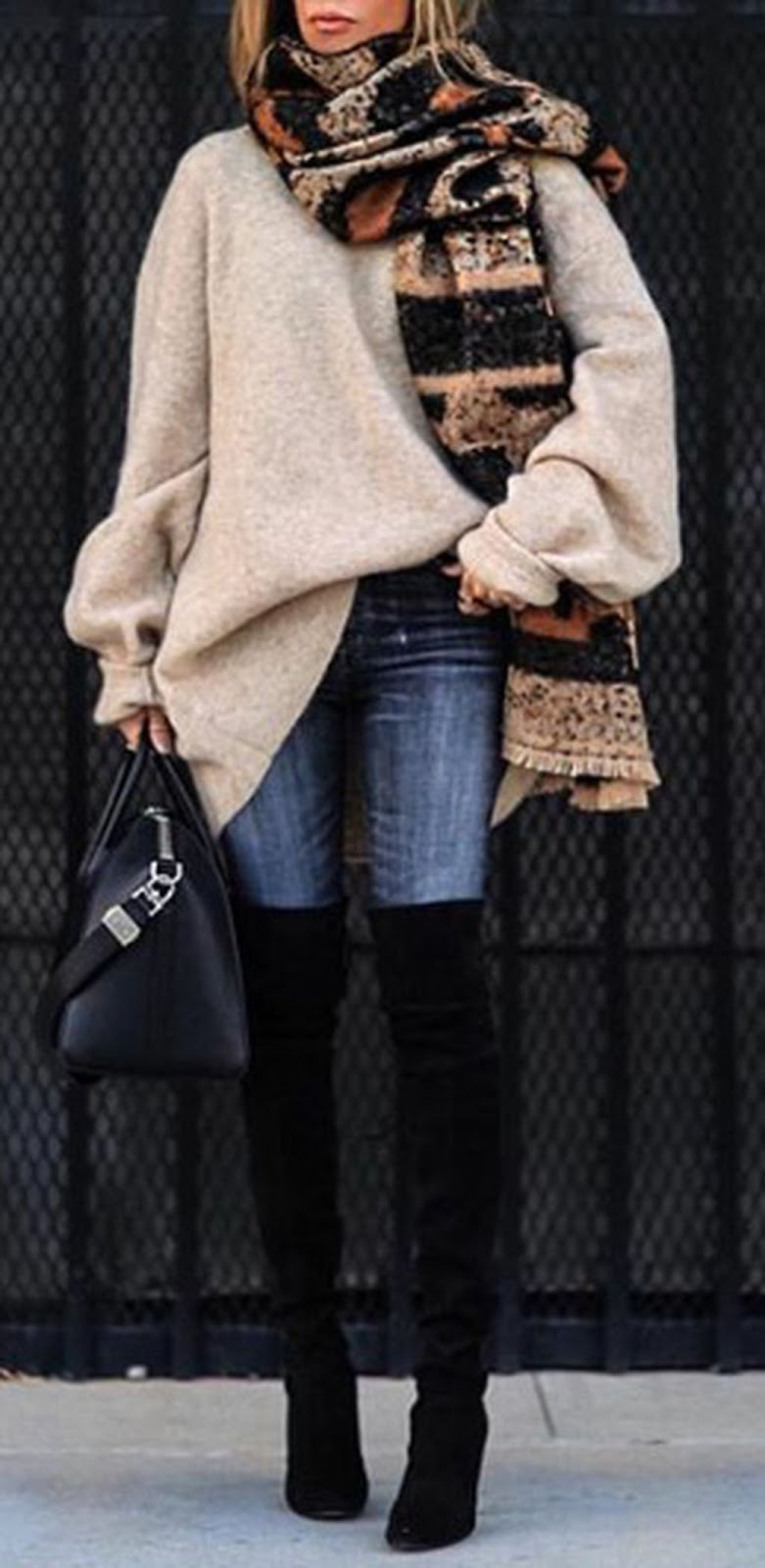 amazing outfit for this winter : scarf + oversized sweater + bag + skinnies + over knee boots