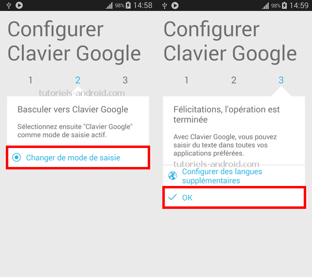 Changer le mode de saisie Android