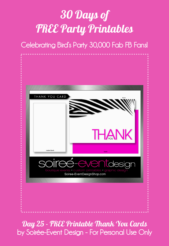 Free Printable Thank You Cards - via BirdsParty.com