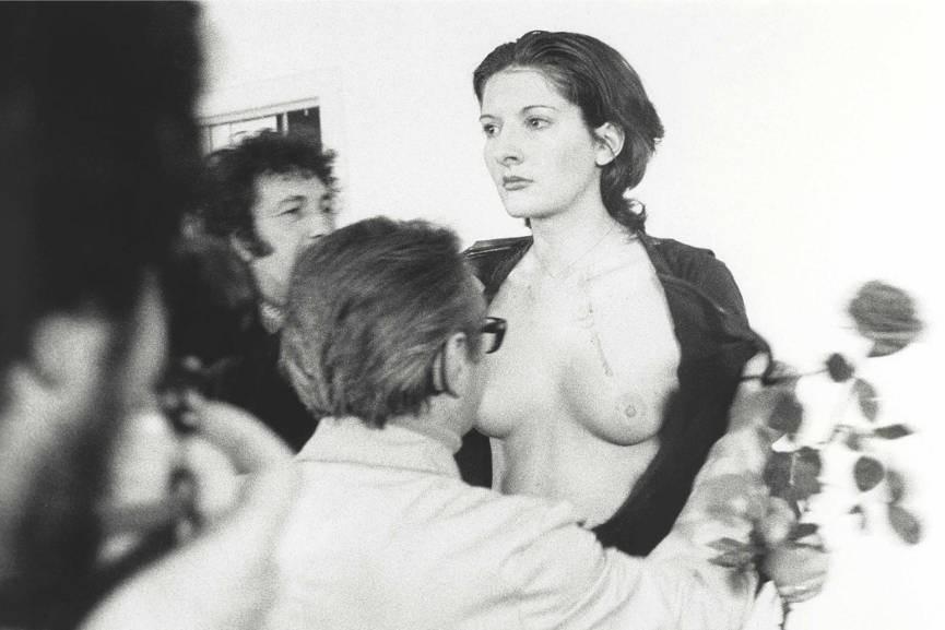 Marina Abramovic, a performance artist in Rhythm 0, 1974
