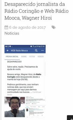 Desaparecido: Radialista da Web Rádio Coringão Wagner Hiroi