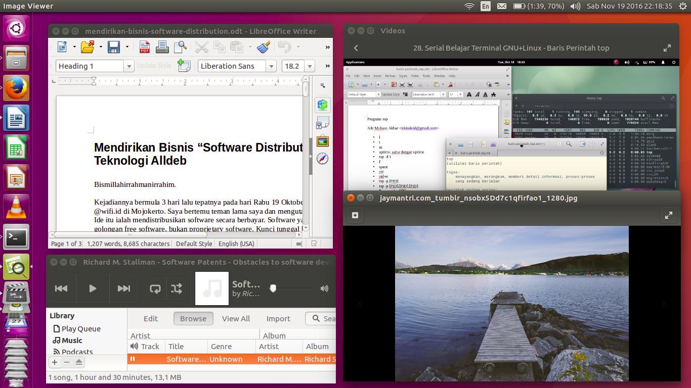 Ubuntu 16 04 menampilkan aplikasi libreoffice writer totem video player gnome image viewer dan rhythmbox audio player sedang berjalan di desktop urutan