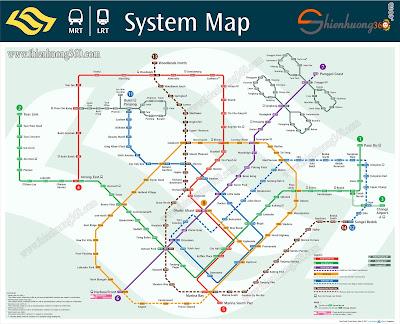 MRT Singapore Map - Bản đồ hệ thống tàu điện ngầm MRT ở Singapore