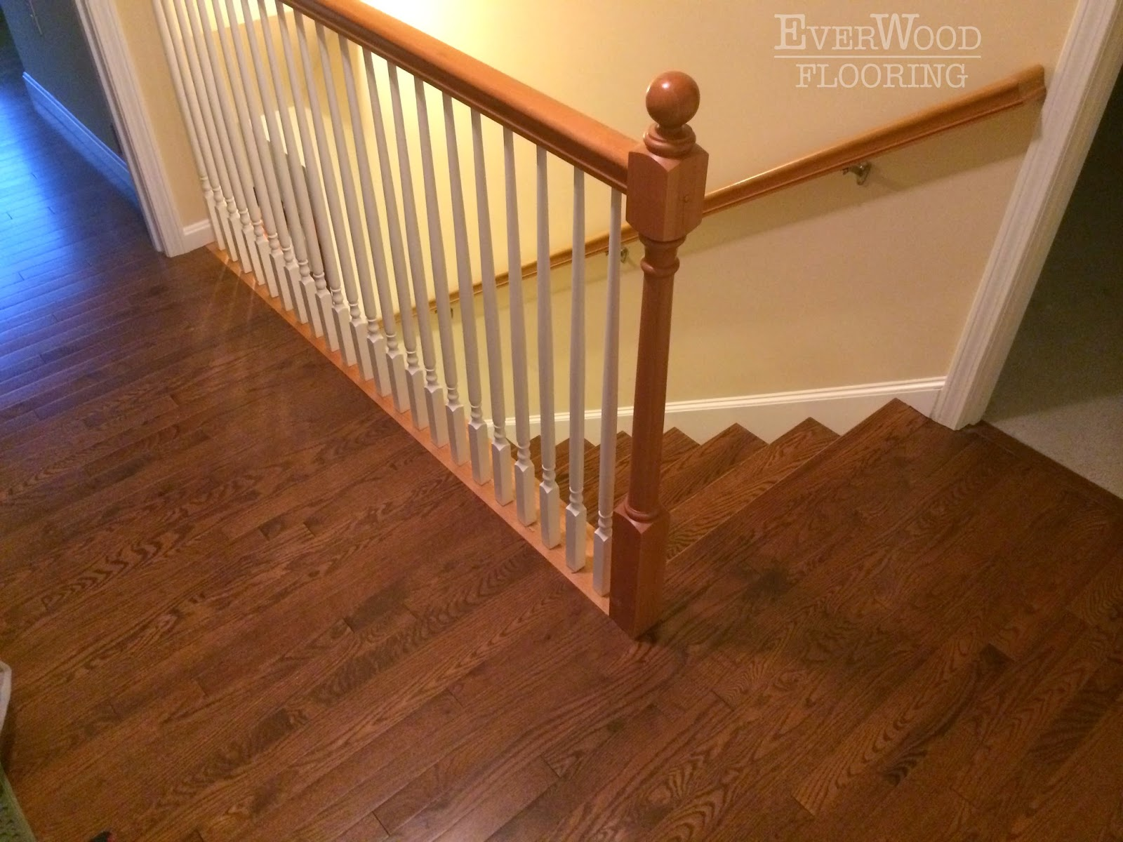 Everwood Flooring Project Pros Prefinished Oak Install Custom Stained Stair Treads