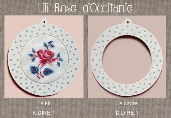 """Cadre bois peint rond """"Digoin"""" + grille assortie, broderie diamètre 7 cm. Broderie et point de croix"""