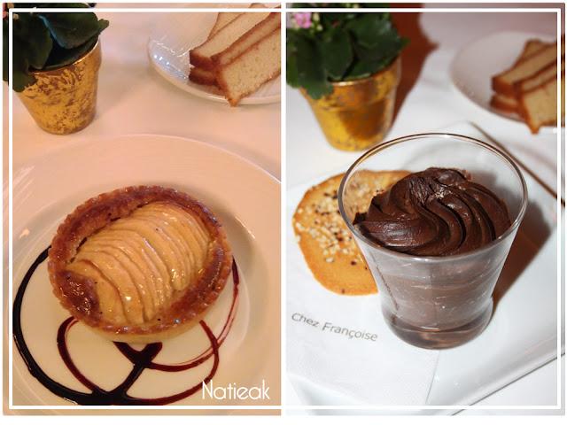 tarte aux pommes et mousse au chocolat