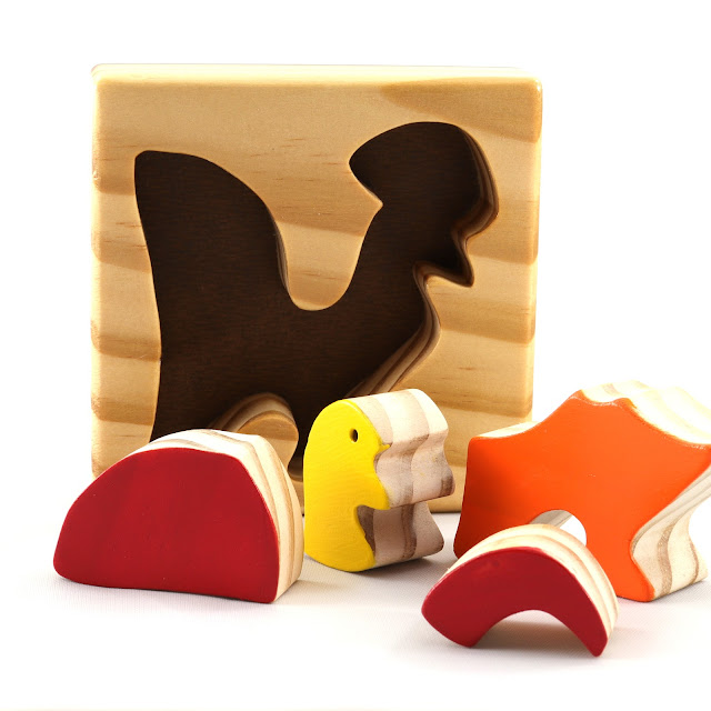Handmade Wooden Toy Puzzle For Toddlers - Rooster - Chicken