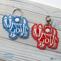 Westie Terrier text-filled snap tab key chain, purse charm, blue and red