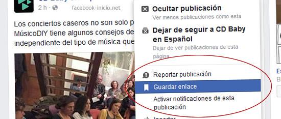 guardar en facebook inicio