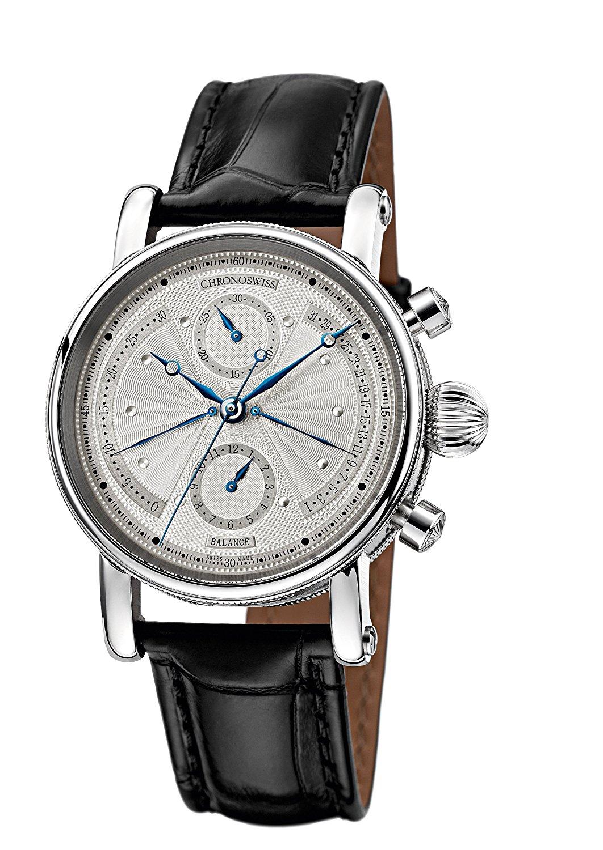 Chronoswiss Sirius Retrograde – orologio automatico da uomo con display argentato e cronografo e cinturino nero, 7543B