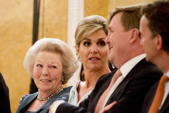 Dutch Queen Maxima presents the Appeltjes van Oranje 2016 award in The Hague. Queen Maxima wore Natan Dress