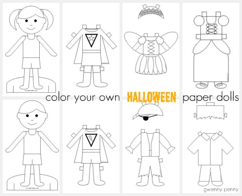 Gwenny Penny Printable Color Your Own Halloween Paper Dolls - paper doll template