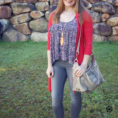 awayFromBlue isntagram red cardigan floral ruffle tank grey skinny jeans Rebecca Minkoff MAM