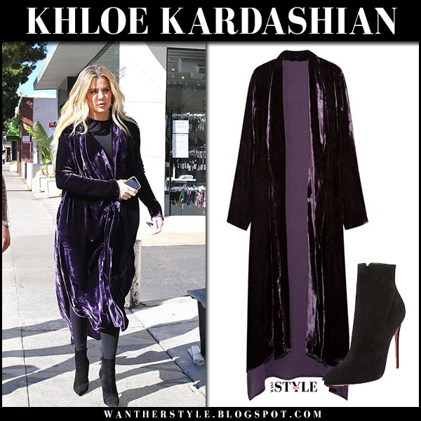 Khloe Kardashian in purple velvet robe coat juan carlos obando and black ankle boots christian louboutin street style november 8 2017