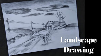 How to draw landscape drawing, landscape drawing with pencil, easy drawing tutorial for landscape drawing, landscape drawing, best landscape drawing with pencil, pencil drawing, how to draw landscape