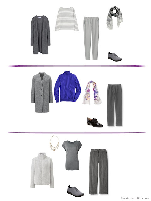 three winter oufits taken from a capsule wardrobe based in grey