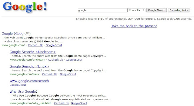 old google layout, old google page