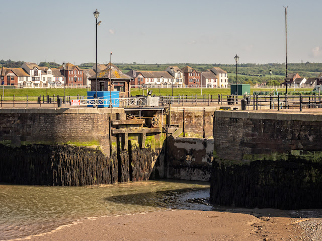 Photo of Maryport Marina gate closed to hold water in the marina when the basin dries out