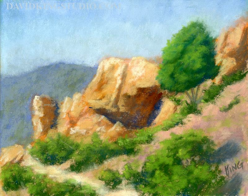 art painting plein air pastel red rock nature