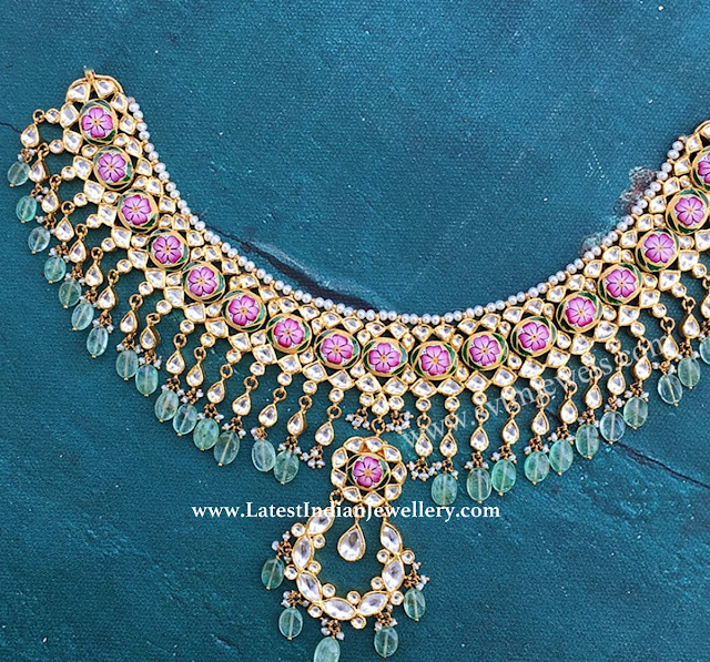 Floral Meenakari Kundan Necklace