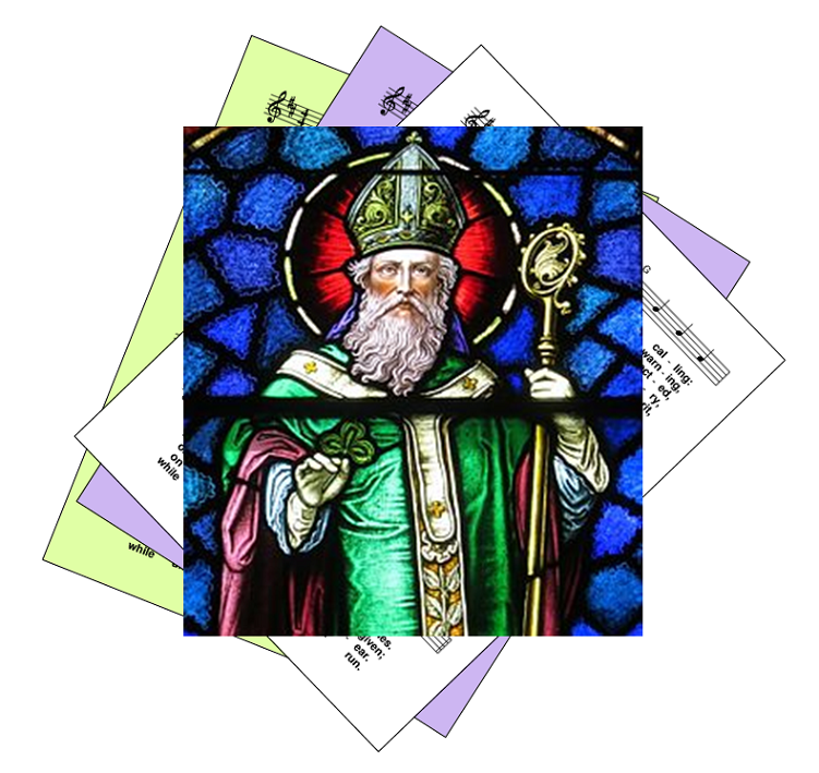 St Patrick in bishop's garb with a crook, superimposed on a set of hymn pages