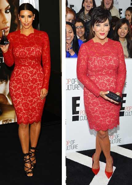 Kim e Kris Jenner vestido em par de jarros