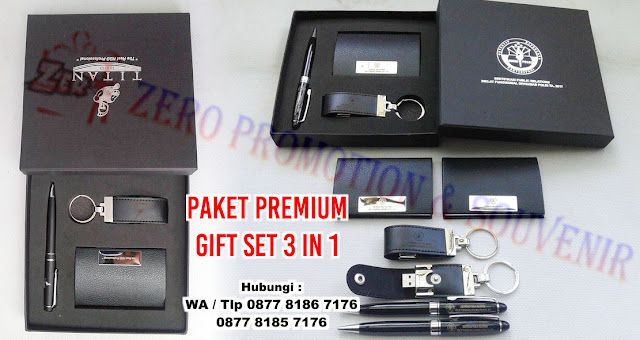paket Barang Promosi Kantor, Premium Gift set 3 in 1, Jual Souvenir Gift Set Grafir 3 In 1, paket bingkisan gift set box 3 In 1, Paket gift set box ekslusif yang merupakan perpaduan flashdisk dan pulpen montblanc, Souvenir giftset